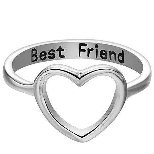 Jude Jewelers Silver Rose Gold Open Heart Best Friends Promise Ring Graduation Gift (Silver, 6)