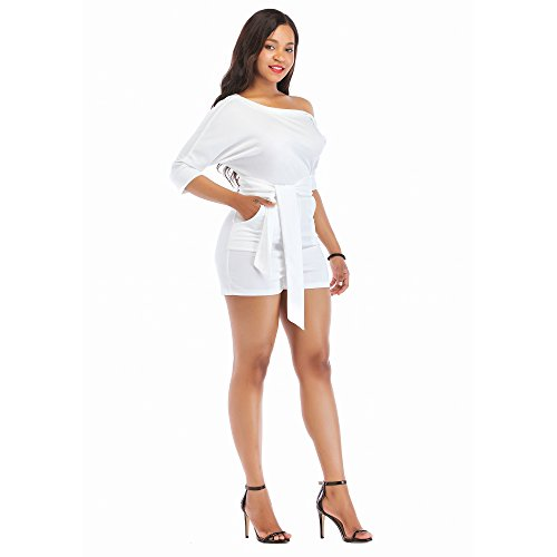 45eaca6b80e Shinfy Jumpsuits for Women White Rompers One Shoulder with Belts Two Piece  Outfits S-XXL