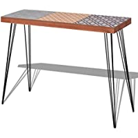 Festnight Mid Century Console Table with Durable Metal Legs for Home Living Room Decor, 35.4x 11.8x 28, Brown/Grey
