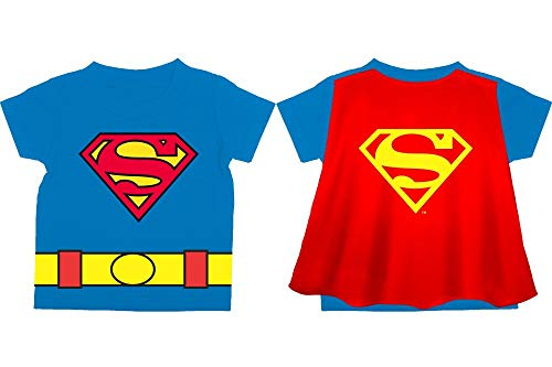 Toddler Superman Shirt Superman Cape Tee Toddler Cape Shirt Superman Shirt-10-2T ()