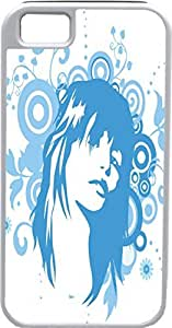 iPhone 5 5S Cases Customized Gifts Cover Beautiful woman with serious expression - light blue and white artistry Design by supermalls