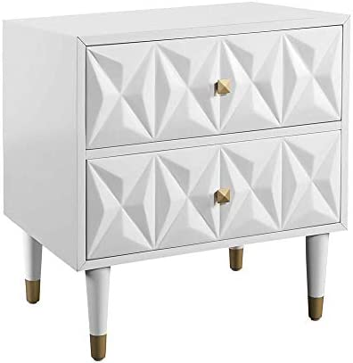 Linon Two Drawer Geo Texture Nightstand in White