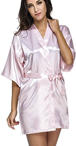 FLYCHEN Women's Short Bathrobe Wedding Bridesmaid Lounge Kimono Satin Robe Pink XL Baby Doll Kimono Top