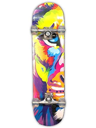 DreadXBoards Double Kick Tail 31-inch Concave Skateboard with Heavy-duty Griptape, Trucks & Wheels (Lion)