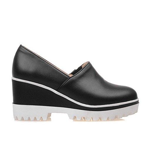 Amoonyfashion Femme Pu Solides Pull-on Cale Ronde Fermé Orteils Talons Hauts Pompes-chaussures Noir