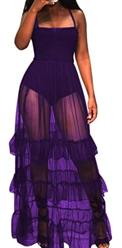 Femmes Domple Sexy Jabot See-through Swing Fines Bretelles Club Plissée Longue Robe Violette