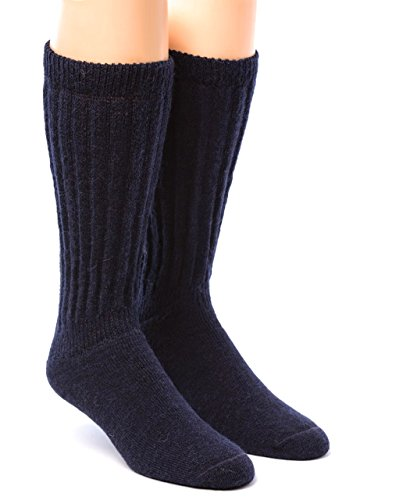 Acrylic Rib Socks (Warrior Alpaca Socks - Men's & Women's Extra Wide Loose Top Casual Crew Alpaca Socks with Comfort Band (Medium, Navy))