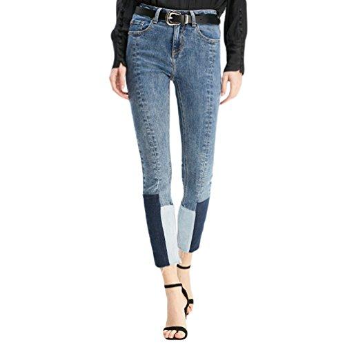 Fit Denim ZhiYuanAN Slim Crayon Pantalon Stitching Couleur Jeans De Pour Contraste Chic Femme Bleu q8gZvq