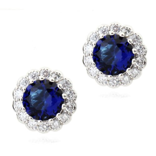 Round Stud Earrings with Blue Simulated Sapphire Zirconia Austrian Crystals 18 ct Gold Plated for Women and Girls Crystalline CA-AZ-CR-0048