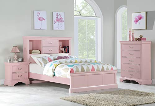 Birch Youth Dresser - Esofastore Classic Modern Youth Bedroom Furniture 3pc Set Full Size Bed Chest Nightstand Light Pink Color Birch Veneer Wood