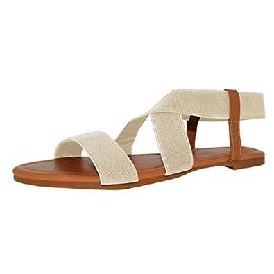 SANDALUP Women's Elastic Flat Sandals White Size 05