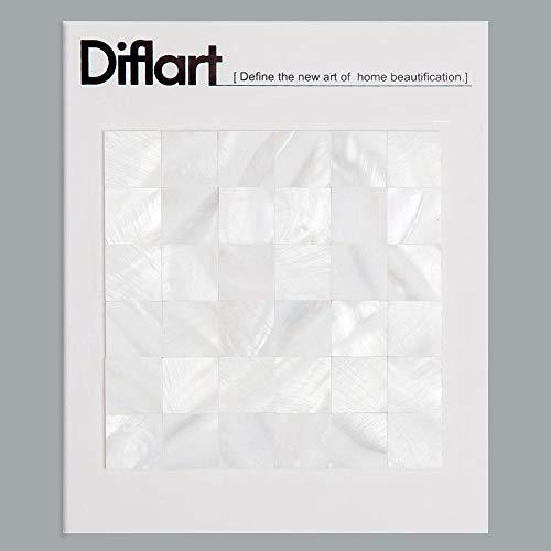 - Diflart White Seamless Mother of Pearl Square Tiles Pearl Shell Mosaic Backsplash Sample