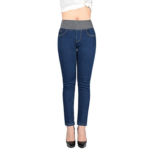 Peacoco Women Plus Size Winter Slim Fit Fleece Lined Skinny Stretch Tight Jeans High Waist Thick Denim Jeans Pants Blue