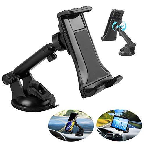 Linkstyle 2 in 1 Car Tablet Mount Holder, Universal Windshield Dash Mount Car Phone Holder with Suction Cup Compatible with Samsung Galaxy/iPad Mini/iPad Air/iPad Pro/iPhone (4-12)
