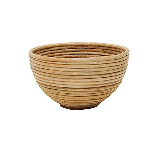 - Vintage Handmade Knit Bamboo Rattan Large Coiled Serving Bowl Natural Color - Small