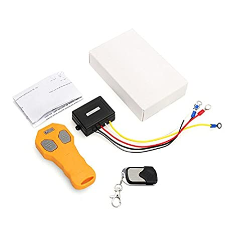 Yellow Ronben Wireless Winch Remote Control Kit 12V 50FT For Car Truck Jeep ATV