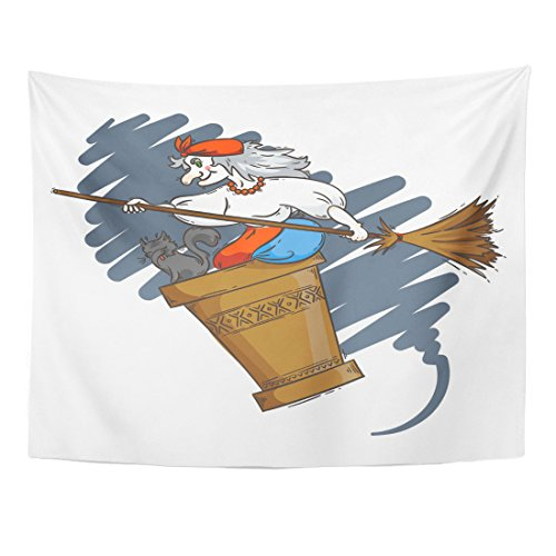 VaryHome Tapestry Baba Yaga Flying in Mortar with Cat and Broomstick the Night Russian Granny Witch Halloween Cartoon Home Decor Wall Hanging for Living Room Bedroom Dorm 60x80 (Czech Folk Costume)