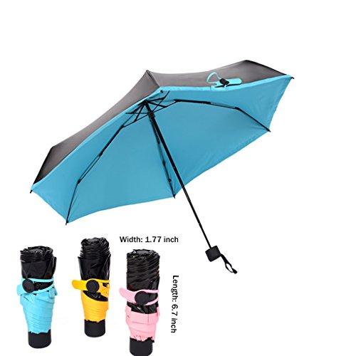 Unisex Women Men Ultralight Five-Folding Compact Mini Anti UV Sun Umbrella Portable Travel Windproof 99% UV Protection Black Vinyl Pocket Umbrella Small Sun Rain Walking Umbrellas Sunshade Parasol
