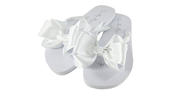 5568eec7d7341 Amazon.com: Customized Colors Bridal Flip Flops Wedding White Bride ...