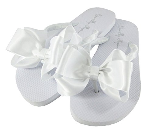 (Customized Colors Bridal Flip Flops Wedding White Bride Bow Flat Satin Flip)