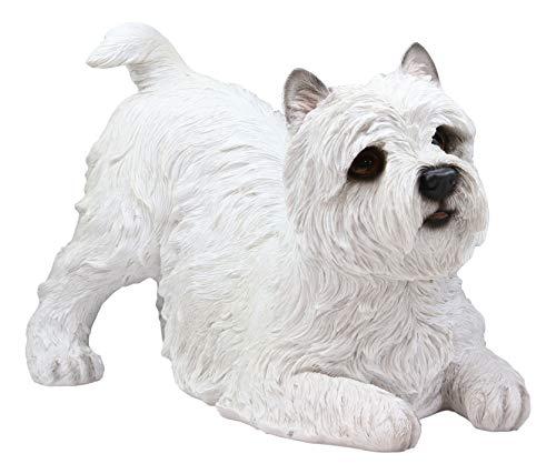 Ebros Large Lifelike Realistic West Highland Terrier White Westie Dog Statue 13.75