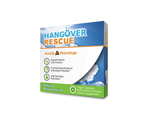 Hangover Rescue For Healthy Drinking 3 Pack (18 Capsules) • Most Comprehensive Hangover Prevention • Brain & Liver Support • Electrolytes, Minerals & Vitamin Replenishment • All Natural ()