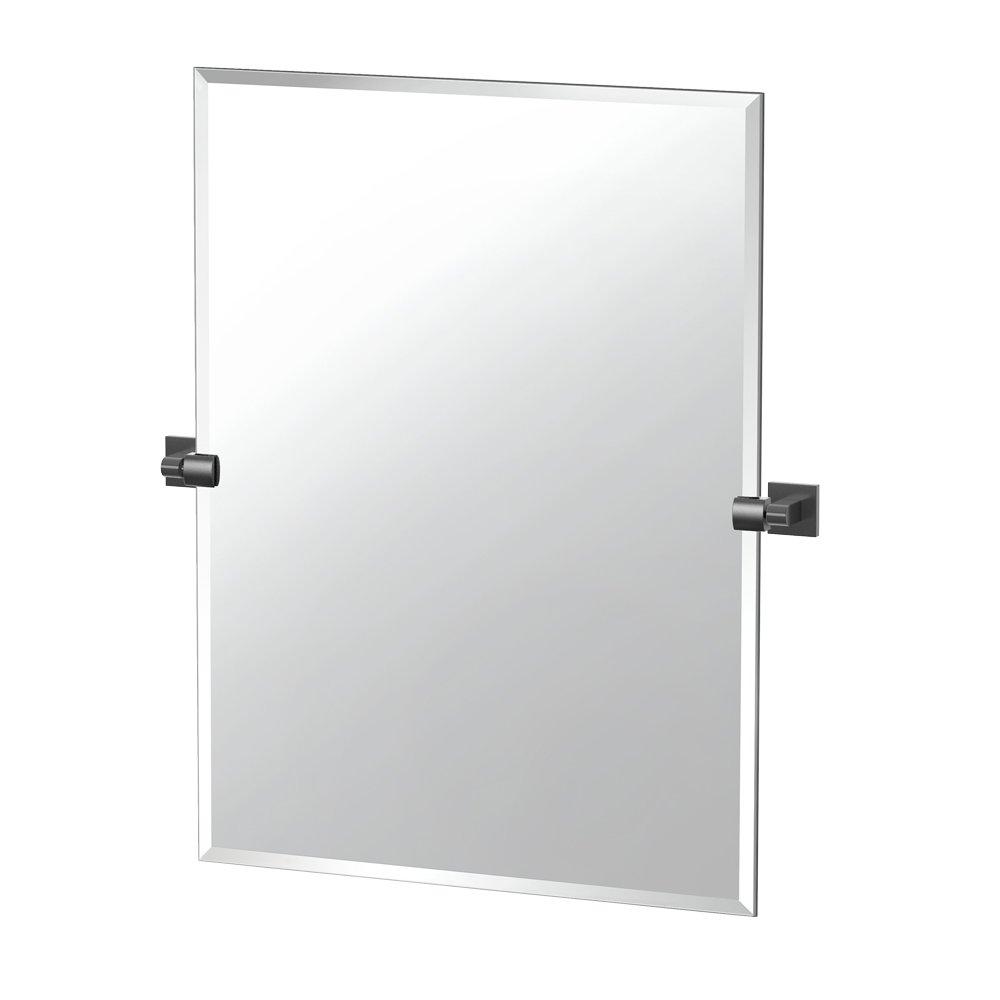 Matte Black 31.5-inch Gatco 4059MXS Elevate Frameless Rectangle Mirror, Matte Black, 31.5 H