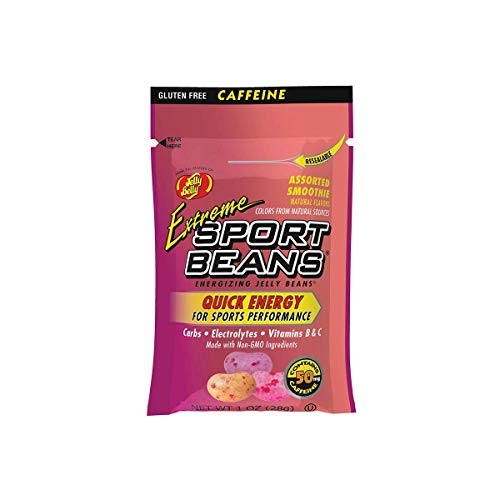 Jelly Belly Extreme Sport Beans, Caffeinated Jelly Beans, Assorted Smoothie Flavors, 24 Pack, 1-oz Each ()