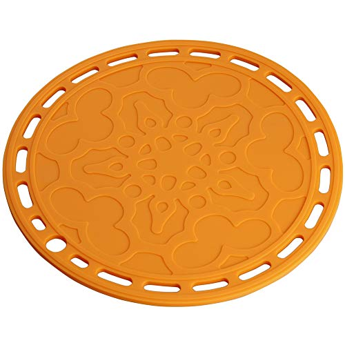 Lucky Plus Big Round Silicone Hot Mats and Trivets for Hot Dishes and Hot Pots, Hot Pads for Countertops, Tables, Pot Holders, Spoon Rest Small Place Mats Set of 3 Color Orange