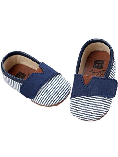 Sunward Unisex Infant Baby Soft Sole Canvas Boy Girl Toddler Moccasin Prewalker Shoes (0~6 Month, Blue)