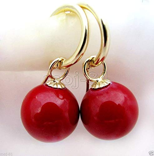 12MM Natural Coral Red South Sea Shell Pearl 14K Gold Plated Dangle Earrings -