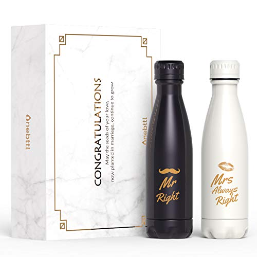 Unique Wedding Gifts for the Couple, Insulated Stainless Steel Water Bottle for Bride and Groom, Mr Right Mrs Always Right, Ideal for Wedding, Engagement, Bridal Shower, Anniversary (Gift Box & Card)