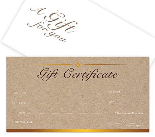 Holiday Spa - Blank Gift Certificates 25set - Kraft image - Comes with Free matching Envelopes - Small Business, Spa, Makeup,Hair Beauty Salon,Restaurant,Wedding Bridal,Baby Shower,Holiday,Christmas,Birthday