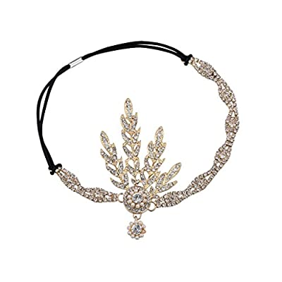 Babeyond Art Deco 1920's Flapper Great Gatsby Inspired Leaf Medallion Pearl Headpiece Headband