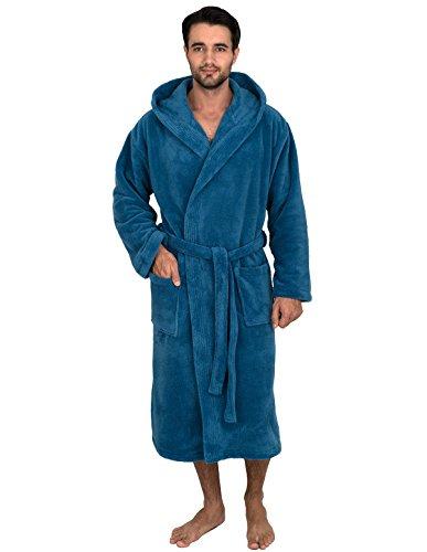 (TowelSelections Men's Robe, Plush Fleece Hooded Spa Bathrobe Medium/Large Deep Water)