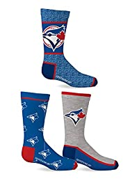 MLB Boy's Toronto Blue Jays 2018 Licensed 3-Pack Crew Socks