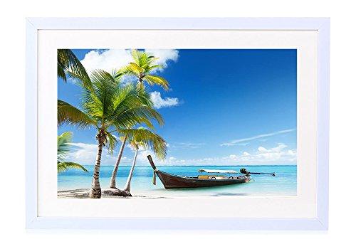 [해외]야자수, 배, 열 대 바다, 해변, 구름-나무 흰색 액자-벽 그림 벽 걸이 소파의 배경 그림 벽 아트 사진 장식 페인팅 벽화 바다-(40cmx30cm) / Palm Trees, Boats, Tropical Seas, Sandy Beaches, Clouds - Wooden White Photo Frames - Wall Painting...