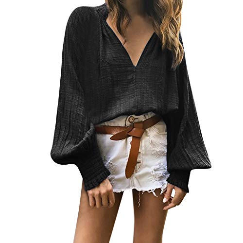 (TUSANG Women Tees Autumn Loose Casual Tops Pure Color V Neck Loose Comfy Tunic Long Sleeved Shirts Blouses(Black,US-10/CN-XL))