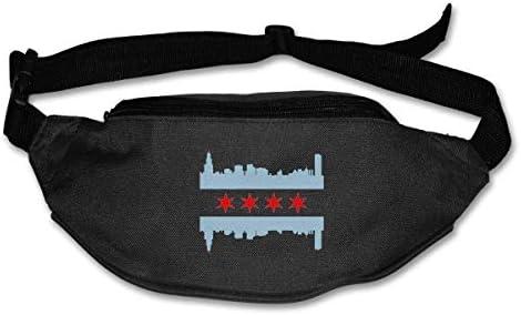 シカゴフラグユニセックスアウトドアファニーパックバッグベルトバッグスポーツウエストパック