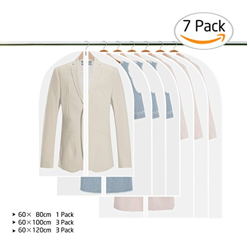 Cotton Clothes Garment (Gvoo Garment Covers, Breathable Clothes Covers Transparent Suit Dress Clothes Bag Dustproof Cover Damp-proof Garment Bag with Full Zipper and Top Hole for Hanger Hook 60×80,60×100,60×120cm-7 Pack)