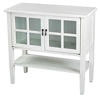 Heather Ann Creations 2-Door Console Cabinet with 4-Pane Glass Insert, Antique White