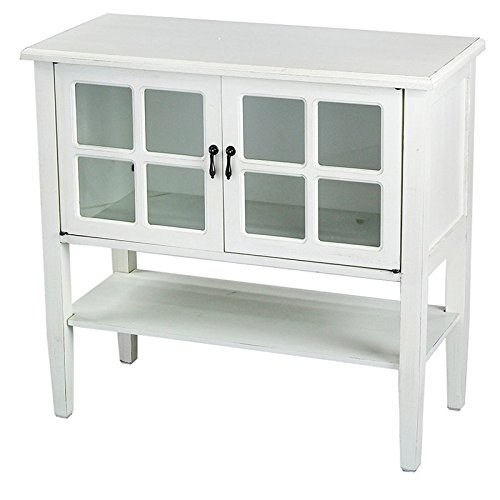 Heather Ann Creations Modern 2 Door Accent Console Cabinet With 4 Pane Glass Insert and Bottom S ...