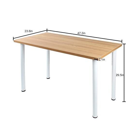 Need 47 inches Modern Computer Desk Home Office Desk Teens Desk Multi Purpose Table,Teak White AC1BW-120 - 【Overall Size】: L47 x W23.7 x H29.5 inch, weighs about 35lbs, provides large working space. 【Firm Material】: E1 solid partical wood with high resistance on scratch & friction. 【High Stability】: 1.2 mm thick metal frame, which is 1.3 times thicker than ordinary 0.8mm ones, better stablize the desk more than usual with heavy weights. - writing-desks, living-room-furniture, living-room - 41bMxgt5NxL. SS570  -