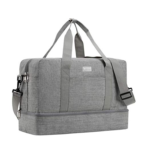 HOKEMP Sports Gym Bag with Wet Bag & Shoes Compartment, Swim Bag Travel Duffel Bag Lightweight Luggage Duffel 6 Color Choice (Gray-Large Size) ()