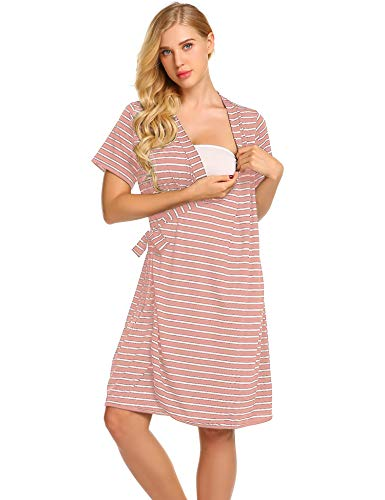 Ekouaer Striped Maternity Robe, Pregnant Short Sleeve Labor Delivery Nursing Hospital Gowns S-XXL (Best Maternity Wear Websites)