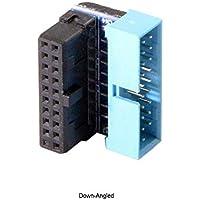 Yoton Cable de computadora USB 3.0 20 Pines Macho a Hembra Adaptador de extensión para Placa Base en ángulo de 90 Grados, 20pin / Down-Angled