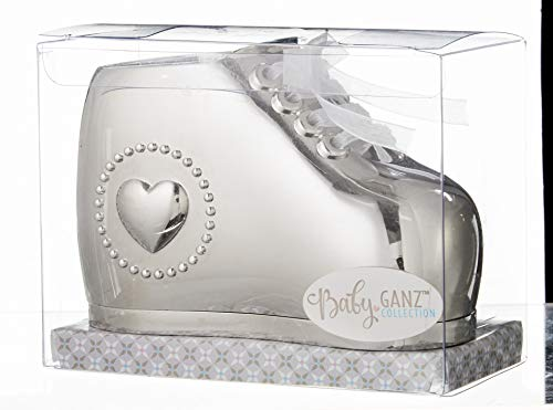 (Baby Bootie Silver Tone 4 inch Silver Plated Zinc Metal Toy Piggy Bank)