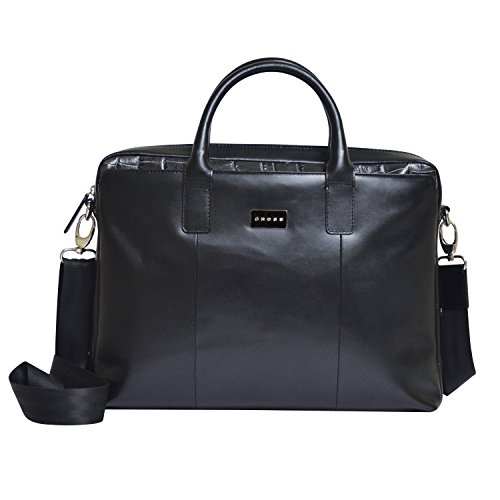 Cross Men's PU Leather Slim Briefcase / Business / Office / Laptop Bag (Tech Men_Black) (Belt Gucci Men Replica)