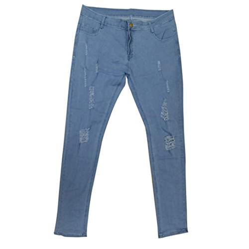 iZHH Men's Stretchy Ripped Skinny Biker Jeans Destroyed Taped Slim Denim Pants(Light ()