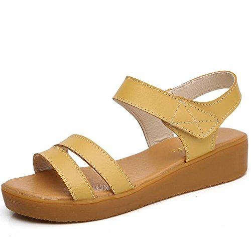 Verano Sandalias Planas No Ocio Femenino - Deslizamiento Suave Sandalias Amarillo